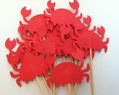 12 crab cupcake toppers-appetizer picks-food picks-birthday cupcake toppers