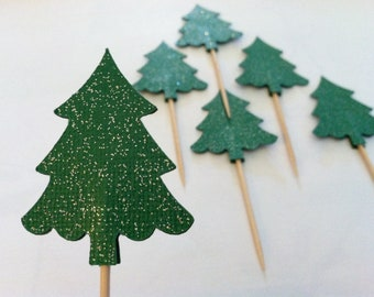 12 evergreen trees, christmas tree cupcake toppers