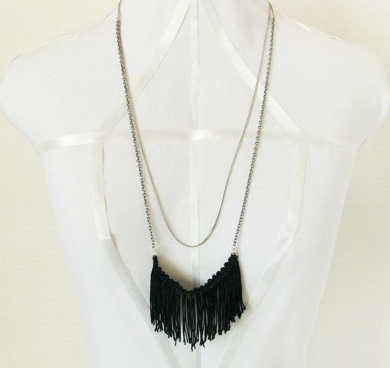 Black Tassel Necklace - 1920's Inspired - Flapper Girl Style - Statement Necklace - Vintage Silver Chain - FREE GIFT