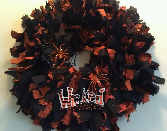 Halloween Fabric Welcome Wreath:  Wicked