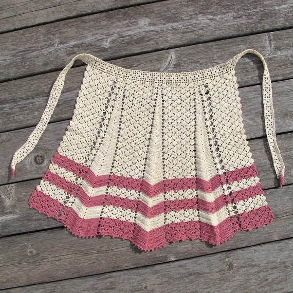 Vintage Crochet Apron in Pink Rose and Cream Stripes and Chevrons