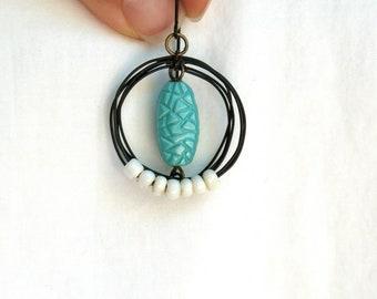 Aqua Loop Earrings boho by Nancelpancel on Etsy