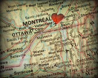 8x10 MAP of MONTREAL Canada with a Heart Shape with a Grunge Vintage Border - 8x10 Photograph