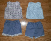"""American Girl or 18"""" doll Clothing Summer Outfits Shorts or Dress"""