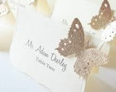 Wedding Luxe Escort Cards , Butterfly Place Cards, Wedding Seat Cards - Champagne and Ivory