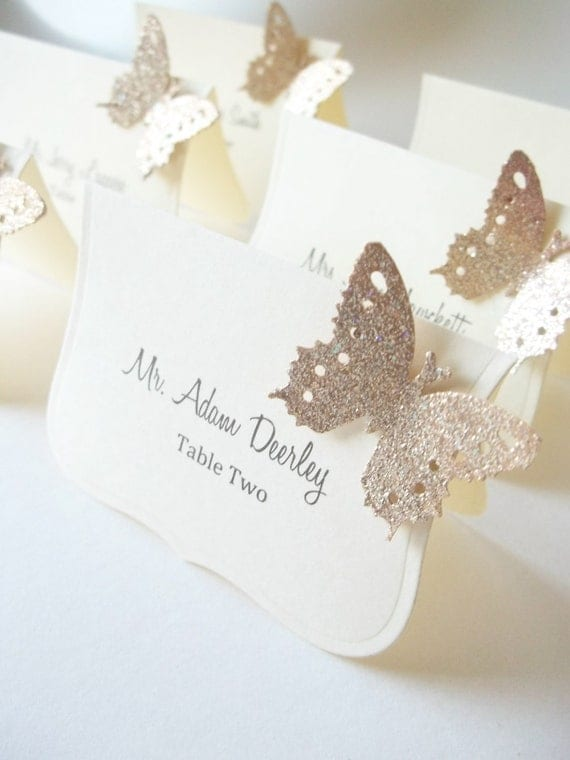 wedding luxe escort cards butterfly place cardslillythings