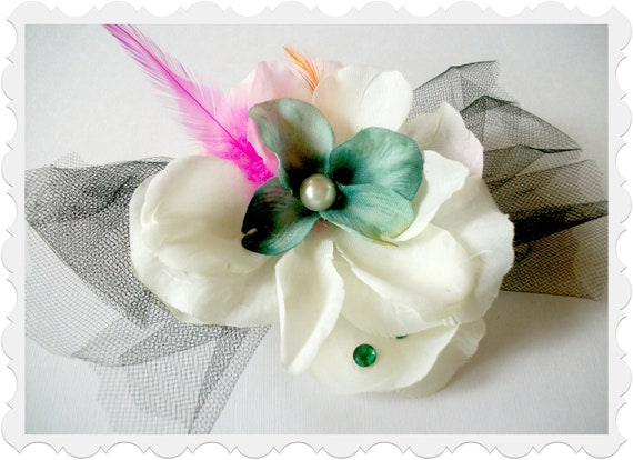 Flower Hair Clip Fun Striking Small Fascinator Black Tulle Hot Pink and Orange Feathers White Pink Petal Flowers Green Rhinestone Accents