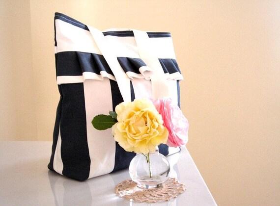 Nautical summer bag Striped bag with ruffle Large  blue and white tote bag Fun diaper bag Beach bag Weekender bag