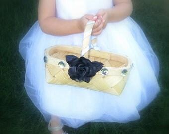 CLEARANCE - Flower Girl Basket - Wedding  Flower Girl Basket - Black and Silver Flower Girl Basket - Black Rose Basket
