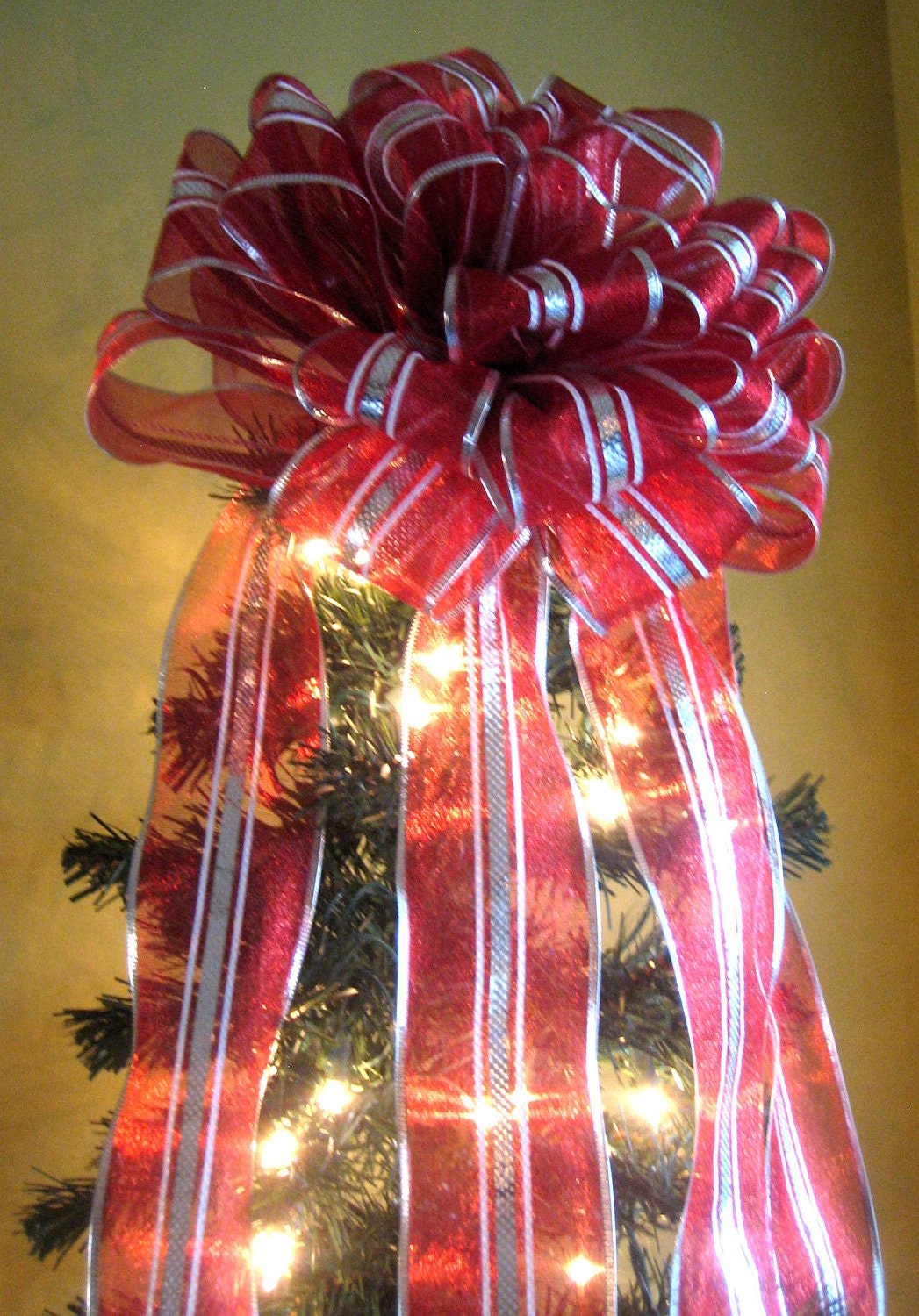 Red/Silver/White Christmas Tree Bow Topper Tree Topper with 7