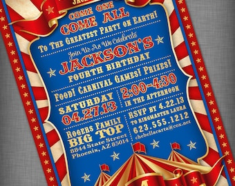 Circus Carnival Customized Printable Invitation