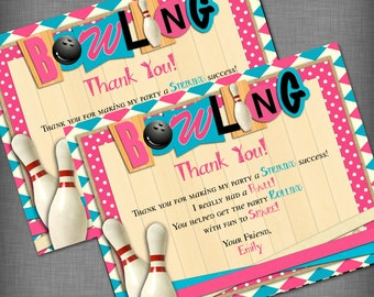 Girl Bowling Theme Thank You Card