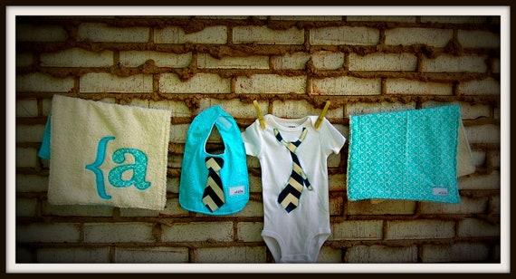 "Swanky Baby Boy Onesie Gift Set ""The Nelson Set"" (Onesie, Reversible Bib, Two XL burp cloths)"