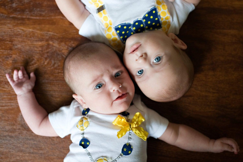 Swanky Baby Twin Girl Boy Set Of Two Matching Onesies