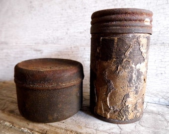Industrial Storage Tin Boxes, Two Vintage Rustic Tins