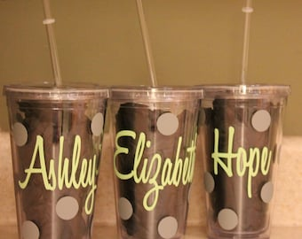 4 Bridal Party Bridesmaid and Bride Personalized Double Walled Insulated Tumblers with straw