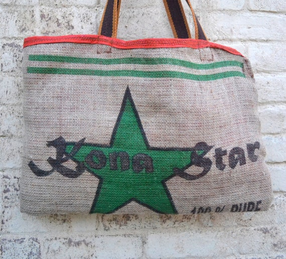 Coffee Bean upcycled  Tote Bag - Star Daily Market Tote bag - Natural