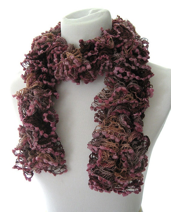 Pink and Mauve Knit Ruffle Scarf