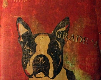 Vintage Boston Terrier Dog Biscuits Grade A  Print Decoupaged on Wood