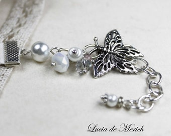 Bridesmaid, Bridal Party -Wedding bracelet - Pearl  and Butterlfy bracelet
