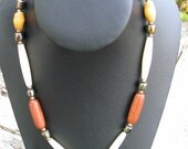 Southwestern Wood, Bone and Metal Necklace
