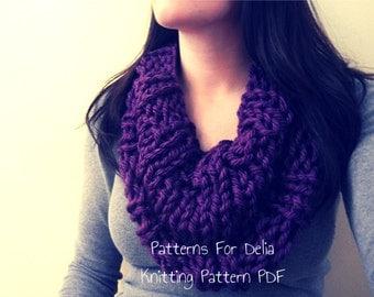 Reversible Infinity Cowl  KNITTING PATTERN easy beginner intermediate flat knit scarf