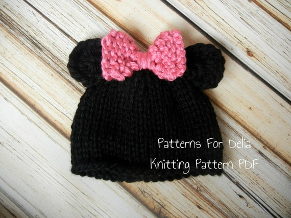 Minnie Mickey Mouse Hat KNITTING PATTERN easy beginner teddy