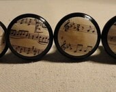 "Sheet Music Drawer Knobs/Drawer Pulls- Antiqued- 1 1/4"" wide and 1"" tall. (Set of 4)"