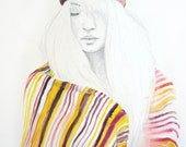 Original Artwork // Watercolour Sketch // A3 // Girl with Tribal Headdress