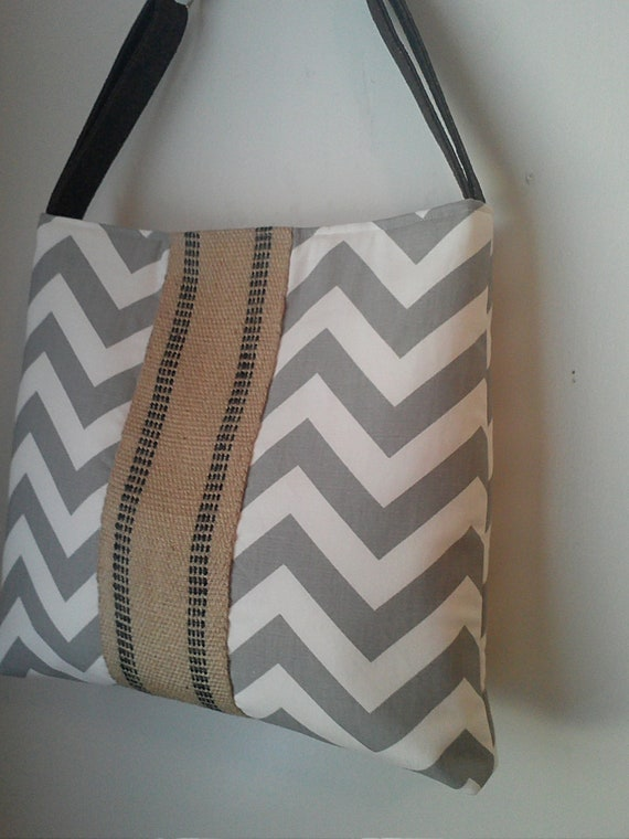 Handbag Tote with Grey Chevron and Jute Webbing