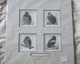 Original Etchings Four Birds Art, Signed by Chinese Artist Hung Ci Yee Moria