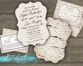 Aspen theme wedding invites, rsvp & detail card set- 5x7 Ornate