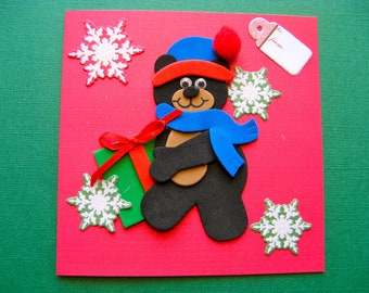 NOW 1/2 OFF - Christmas Greeting Card With Envelope - Christmas Bear Design- Red Card with Foam Appliqué  -  Blank Inside - Handmade