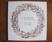 Floral Wreath Thankyou Greetings Card