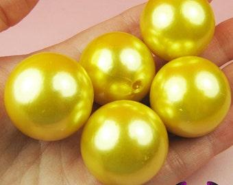 HUGE PEARL BEADS 30mm Bright Yellow Imitation Pearls