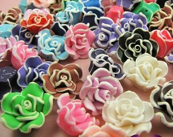 5 pcs Polymer Clay ROSE flatback Cabochons or Beads 21mm