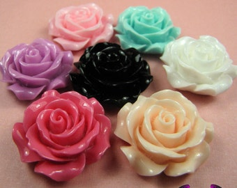 30mm ROSES Decoden Flatback Resin Flower Cabochons (5 pieces)
