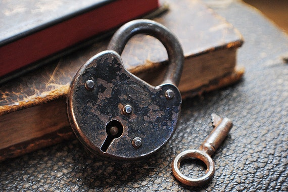 Small Vintage Corbin Padlock with Working Skeleton Key