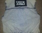 RESERVED for Elizabeth L : DIY ladies acid wash denim vest - UK 8/10 - with The Virus patch -