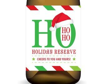 Ho Ho Ho Holiday Reserve ... DIY Printable Holiday Wine Label Wrap - Instant Download PDF