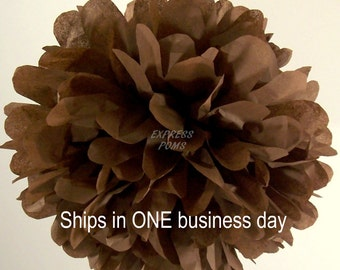 Chocolate Tissue Paper Pom Pom - 1 Large Pom - 1 Piece - Ships within ONE Business Day