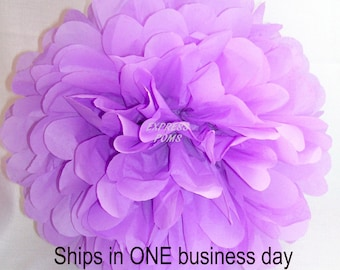 Lilac Tissue Paper Pom Pom - 1 Medium Pom - 1 Piece - NEXT DAY SHIPPING
