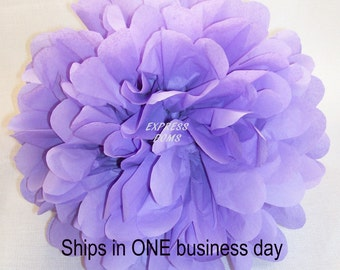 "Lavender Tissue Paper Pom Pom - 1 Medium 13"" - Ships within ONE Business Day"