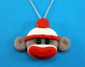 Sock Monkey Charm Necklace Polymer Clay