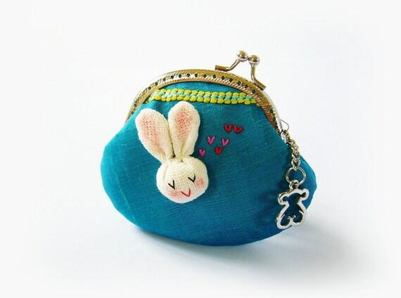 Coin purse, metal frame purse, silk purse, bunny purse, embroidery coin purse, 8.5 cm frame purse