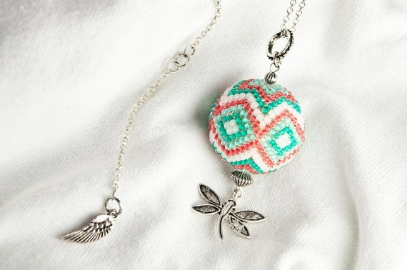 Beaded pendant necklace on long chain, coral red, mint and white geometric pattern, little dragonfly, handmade