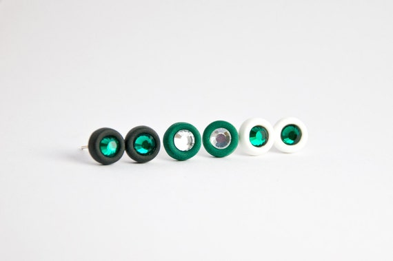 Stud earrings, teal set of 3 pairs, polymer clay with glass crystal, handmade