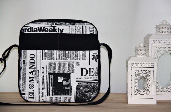 Newspaper Prints Messenger Bag/Eco-Friendly Diaper Bag/Cross Body Bag/ Black White Shoulder Bag/Unisex/Ready To Ship