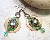 Filigree Metal Earrings Lime Green