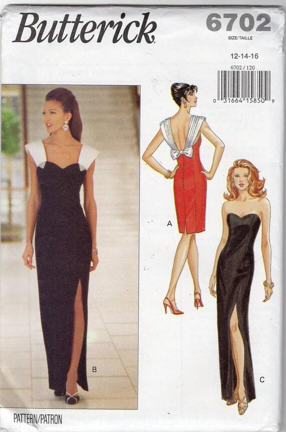 "Misses' Easy Elegant Dress Pattern - Size 12, 14, 16, Bust 34"", 36"", 38"" - Butterick 6702"